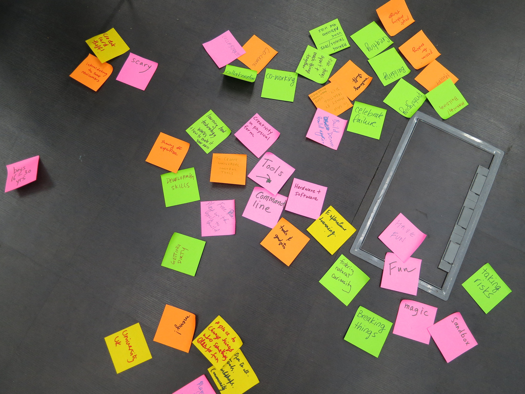 Post-it activity during Designing Creative Technology Playgrounds for Families: What are hackerspaces? #mozfest by ricarose